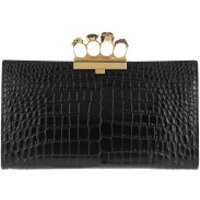 Alexander McQueen Clutch Croco Effect Pouch Leather Black - in schwarz - Abendtasche für Damen