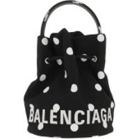 Balenciaga Bucket Bags Wheel XS Drawstring Bucket Bag Leather Black/White - in schwarz - Umhängetasche für Damen