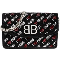 "Balenciaga Clutch BB Wallet On Chain ""Love Paris"" Velvet Black - in schwarz - Abendtasche für Damen"