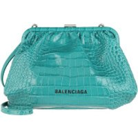Balenciaga Crossbody Bags Cloud Clutch With Strap Croc Print Leather Dark Turquoise - in teal-cyan - Umhängetasche für Damen