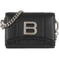 Balenciaga Crossbody Bags Hourglass Mini Wallet On Chain Grained Calfskin Black - in schwarz - Umhängetasche für Damen