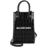Balenciaga Crossbody Bags Shopping Phone Holder Bag Leather Black/White - in schwarz - Umhängetasche für Damen