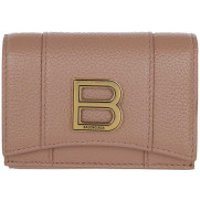 Balenciaga Wallet Hourglass Mini Wallet Grained Leather Nude Beige - in rosa - Portemonnaie für Damen