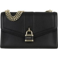 DKNY Crossbody Bags Ella Large Shoulder Flap Bag Black Gold - in schwarz - Umhängetasche für Damen
