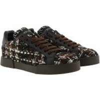 Dolce&Gabbana Turnschuhe Portofino Sneakers Tweed Brown/Black - in braun - für Damen