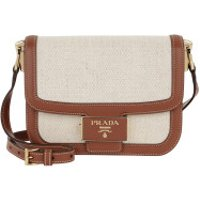 Prada Crossbody Bags Emblème Logo Plague Shoulder Bag Calf Naturale/Cognac - in cognac - Umhängetasche für Damen