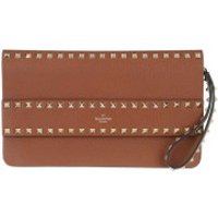 Valentino Clutch Rockstud Clutch Leather Selleria - in braun - Abendtasche für Damen