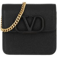 Valentino Crossbody Bags V Logo Sling Chain Wallet Leather Black - in schwarz - Umhängetasche für Damen