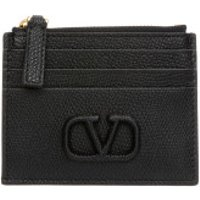 Valentino Wallet V Logo Coin And Credit Card Case Leather Black - in schwarz - Portemonnaie für Damen