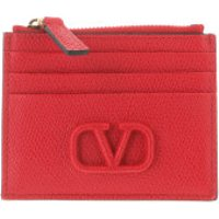 Valentino Wallet V Logo Coin And Credit Card Case Leather Red - in rot - Portemonnaie für Damen